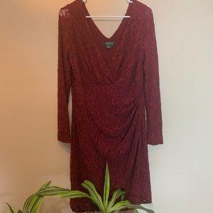 Ralph Lauren Burgundy Lace Long Sleeve Dress